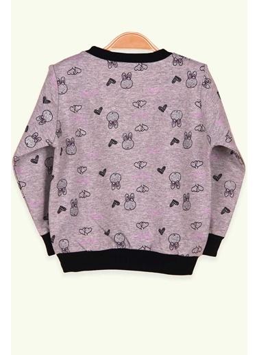 Breeze Kız Çocuk Sweatshirt Tavşanı Simli Füme (1.5-5 Yaş) Füme